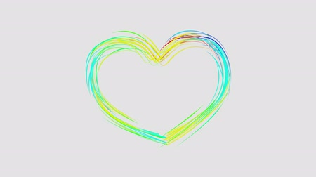 dinamic background : abstract rainbow color drawn HEART shape elegant lines stripes beautiful animation background New quality universal motion dynamic animated colorful joyful music video footage