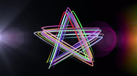 equalizador : neon rainbow color drawn star shape elegant lines stripes beautiful animation background New quality universal motion dynamic animated colorful joyful music video footage