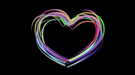 equalizador : neon rainbow color drawn heart shape elegant lines stripes beautiful animation background New quality universal motion dynamic animated colorful joyful music video footage