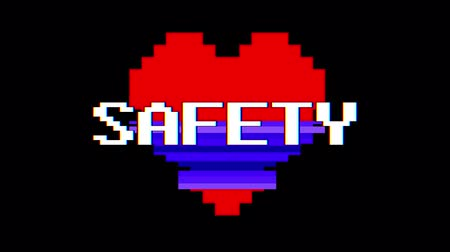 distorsiyon : pixel heart SAFETY word text glitch interference screen seamless loop animation background new dynamic retro vintage joyful colorful video footage