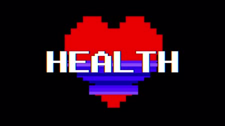 zkreslení : pixel heart HEALTH word text glitch interference screen seamless loop animation background new dynamic retro vintage joyful colorful video footage