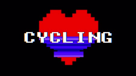 tło retro : pixel heart CYCLING word text glitch interference screen seamless loop animation background new dynamic retro vintage joyful colorful video footage