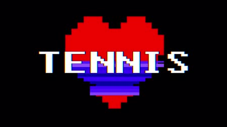 zkreslení : pixel heart TENNIS word text glitch interference screen seamless loop animation background new dynamic retro vintage joyful colorful video footage
