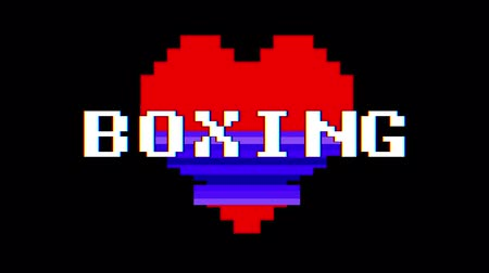 zkreslení : pixel heart BOXING word text glitch interference screen seamless loop animation background new dynamic retro vintage joyful colorful video footage