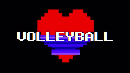 voleybol : pixel heart VOLLEYBALL word text glitch interference screen seamless loop animation background new dynamic retro vintage joyful colorful video footage