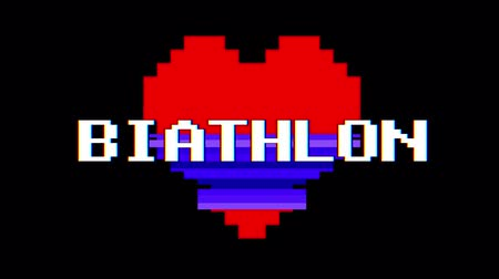 distorsiyon : pixel heart BIATHLON word text glitch interference screen seamless loop animation background new dynamic retro vintage joyful colorful video footage