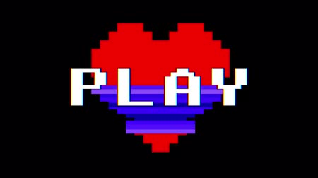 zkreslení : pixel heart PLAY word text glitch interference screen seamless loop animation background new dynamic retro vintage joyful colorful video footage