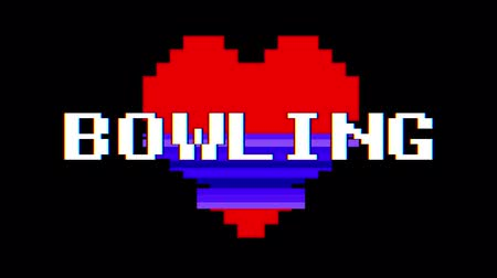distorsiyon : pixel heart BOWLING word text glitch interference screen seamless loop animation background new dynamic retro vintage joyful colorful video footage