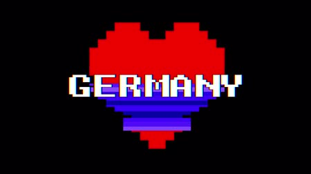 distorsiyon : pixel heart GERMANY word text glitch interference screen seamless loop animation background new dynamic retro vintage joyful colorful video footage