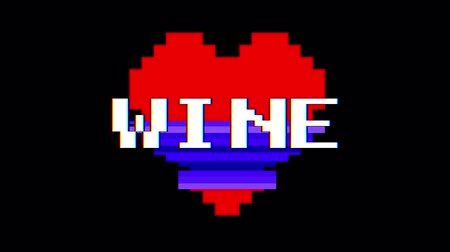 kırmızı şarap : pixel heart WINE word text glitch interference screen seamless loop animation background new dynamic retro vintage joyful colorful video footage Stok Video