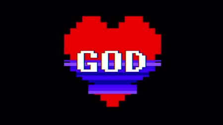 формы сердца : pixel heart GOD word text glitch interference screen seamless loop animation background new dynamic retro vintage joyful colorful video footage Стоковые видеозаписи