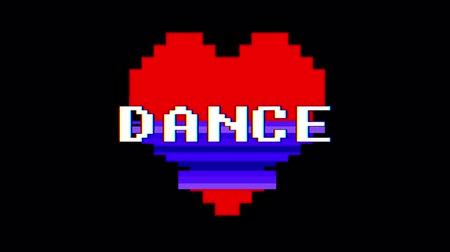 logotipo : pixel heart DANCE word text glitch interference screen seamless loop animation background new dynamic retro vintage joyful colorful video footage Stock Footage