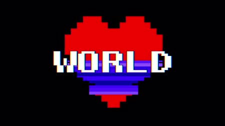 em forma de : pixel heart WORLD word text glitch interference screen seamless loop animation background new dynamic retro vintage joyful colorful video footage