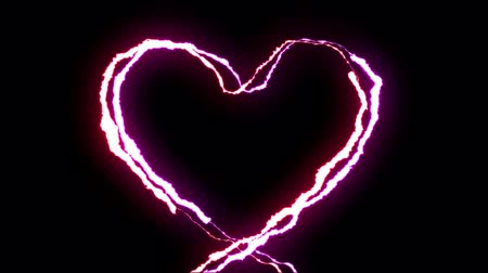 powerful : loopable RED PURPLE neon Lightning bolt HEART shape flight on black background animation new quality unique nature light effect video footage