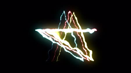 torrential rain : loopable BLUE RED YELLOW neon Lightning bolt STAR symbol shape flight on black background animation new quality unique nature light effect video footage
