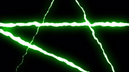 forked : loopable GREEN neon Lightning bolt STAR symbol shape flight on black background animation new quality unique nature light effect video footage