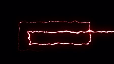 powerful : loopable RED neon Lightning bolt SPIRAL shape flight on black background animation new quality unique nature light effect video footage Stock Footage