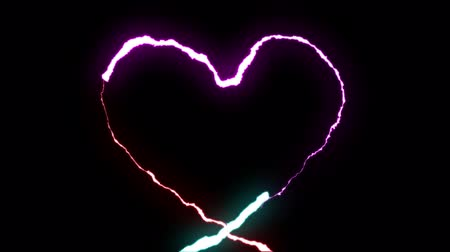 electric strike : loopable RAINBOW neon Lightning bolt HEART shape flight on black background animation new quality unique nature light effect video footage