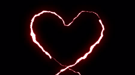 torrential rain : loopable RED neon Lightning bolt HEART shape flight on black background animation new quality unique nature light effect video footage