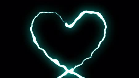 гром : loopable BLUE neon Lightning bolt HEART shape flight on black background animation new quality unique nature light effect video footage