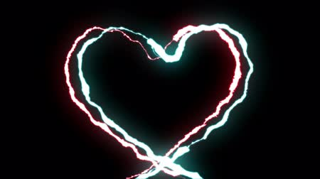 nápadný : loopable BLUE RED neon Lightning bolt HEART shape flight on black background animation new quality unique nature light effect video footage