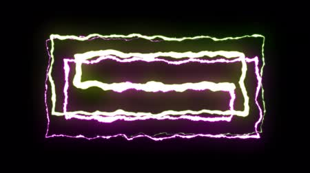 powerful : loopable YELLOW PURPLE neon Lightning bolt symmetrical ZIG ZAG shape flight on black background animation new quality unique nature light effect video footage