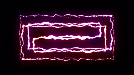 гром : loopable RED PURPLE neon Lightning bolt symmetrical ZIG ZAG shape flight on black background animation new quality unique nature light effect video footage