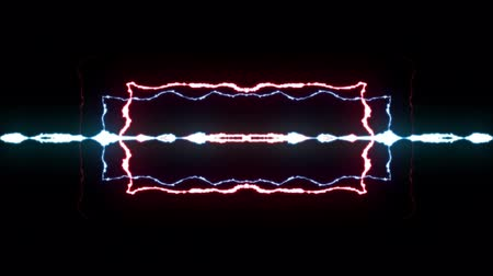powerful : loopable BLUE RED neon Lightning bolt symmetrical ZIG ZAG shape flight on black background animation new quality unique nature light effect video footage