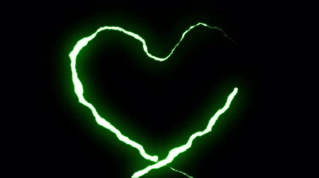 torrential rain : loopable GREEN neon Lightning bolt HEART shape flight on black background animation new quality unique nature light effect video footage