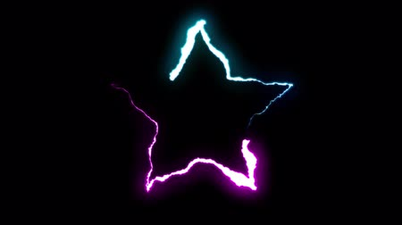 forked : loopable BLUE PURPLE neon Lightning bolt STAR symbol shape flight on black background animation new quality unique nature light effect video footage