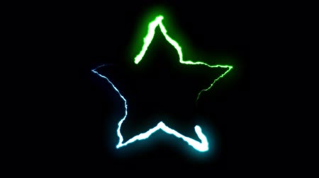 forked : loopable BLUE GREEN neon Lightning bolt STAR symbol shape flight on black background animation new quality unique nature light effect video footage