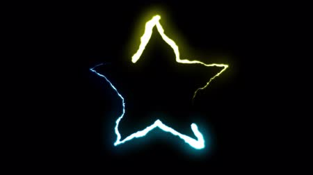 forked : loopable BLUE YELLOW neon Lightning bolt STAR symbol shape flight on black background animation new quality unique nature light effect video footage