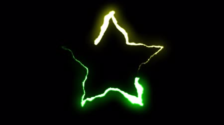 forked : loopable GREEN YELLOW neon Lightning bolt STAR symbol shape flight on black background animation new quality unique nature light effect video footage