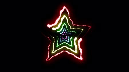 powerful : loopable RAINBOW neon Lightning bolt STAR symbol shape flight on black background animation new quality unique nature light effect video footage