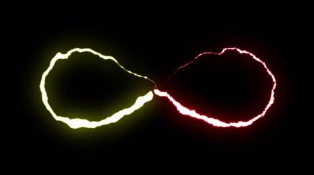 nápadný : loopable RED YELLOW neon Lightning bolt infinity symbol shape flight on black background animation new quality unique nature light effect video footage Dostupné videozáznamy
