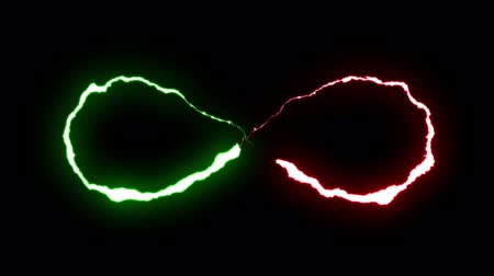 torrential rain : loopable GREEN RED neon Lightning bolt infinity symbol shape flight on black background animation new quality unique nature light effect video footage