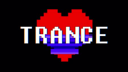 distorsiyon : pixel heart TRANCE word text glitch interference screen seamless loop animation background new dynamic retro vintage joyful colorful video footage