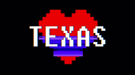 em forma de : pixel heart TEXAS word text glitch interference screen seamless loop animation background new dynamic retro vintage joyful colorful video footage