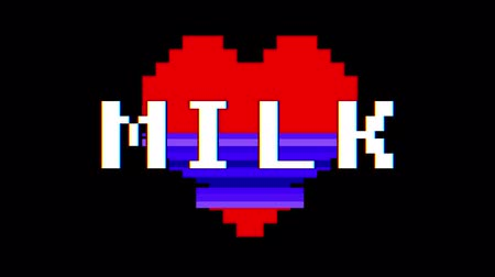 em forma de : pixel heart MILK word text glitch interference screen seamless loop animation background new dynamic retro vintage joyful colorful video footage Stock Footage