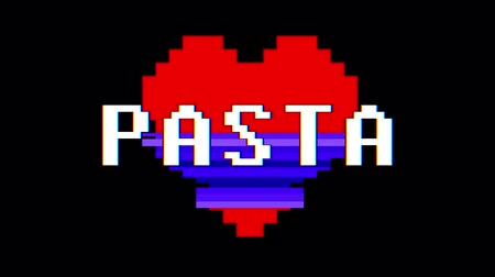zkreslení : pixel heart PASTA word text glitch interference screen seamless loop animation background new dynamic retro vintage joyful colorful video footage
