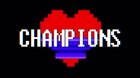 em forma de : pixel heart CHAMPIONS word text glitch interference screen seamless loop animation background new dynamic retro vintage joyful colorful video footage