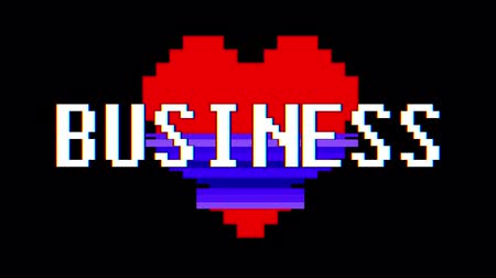 zkreslení : pixel heart BUSINESS word text glitch interference screen seamless loop animation background new dynamic retro vintage joyful colorful video footage