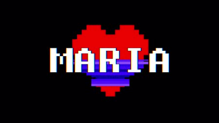 zkreslení : pixel heart MARIA word text glitch interference screen seamless loop animation background new dynamic retro vintage joyful colorful video footage