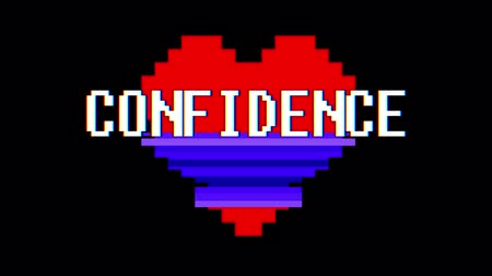 em forma de : pixel heart CONFIDENCE word text glitch interference screen seamless loop animation background new dynamic retro vintage joyful colorful video footage