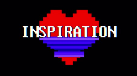 em forma de : pixel heart INSPIRATION word text glitch interference screen seamless loop animation background new dynamic retro vintage joyful colorful video footage