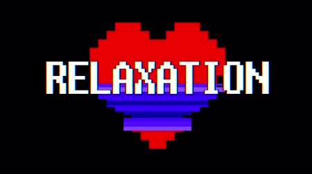 distorsiyon : pixel heart RELAXATION word text glitch interference screen seamless loop animation background new dynamic retro vintage joyful colorful video footage Stok Video