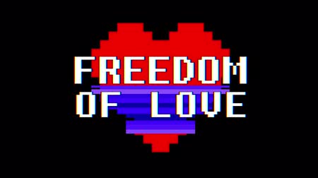 logotipo : pixel heart FREEDOM OF LOVE word text glitch interference screen seamless loop animation background new dynamic retro vintage joyful colorful video footage Stock Footage