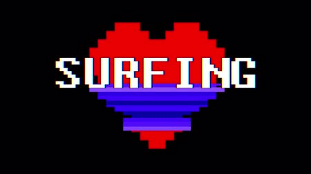 zkreslení : pixel heart SURFING word text glitch interference screen seamless loop animation background new dynamic retro vintage joyful colorful video footage