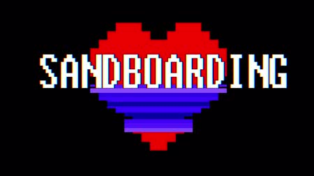 logotipo : pixel heart SANDBOARDING word text glitch interference screen seamless loop animation background new dynamic retro vintage joyful colorful video footage