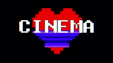 em forma de : pixel heart CINEMA word text glitch interference screen seamless loop animation background new dynamic retro vintage joyful colorful video footage Stock Footage